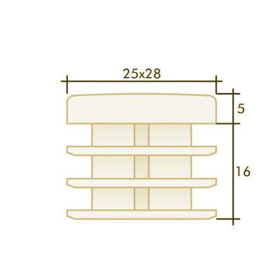 Заглушка прямоугольная 25×28
